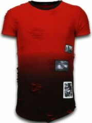 Justing Pictured Flare Effect T-shirt - Long Fit Shirt Dual Colored - Rood Pictured Flare Effect T-shirt - Long Fit Shirt Dual Colored - Groen Heren T-shirt Maat S