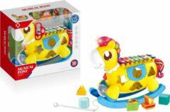 Gele FDBW Speelgoed Muziek 3 in 1 – Paard | Xylofoon Piano - speelgoed Kind | Schommelpaard Baby | piano met geluid | Blokken speelgoed - Baby