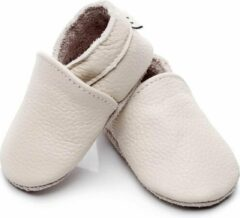 Zandkleurige Supercute Leren Baby Slofjes - Ecru - Zandkleur - 12 tot 18 Maanden - Leer - Babyschoenen - Jongen - Meisje- Kraamkado - Babyshower