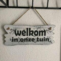 "Witte BonTon Houten Tekstplank / Tekstbord 22x30cm ""Welkom in onze tuin"" - Kleur Antique White"
