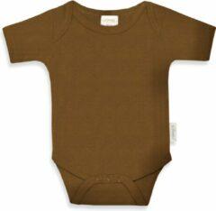 Bruine Funnies romper uni line Brown clay | romper 62-68 | baby | 100% zuivere katoen | rompertjes baby| rompers | romper korte mouw