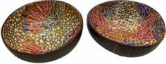 Rode Globalvie Unieke Kokosnoot Kom Handgemaakt - Set van 2