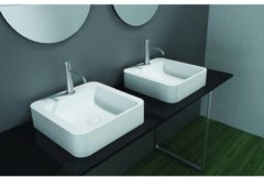 Witte Cross Tone Solid surface opbouwwastafel B41xD41.5xH10.5cm vierkant zonder waste wit mat CTS-2061