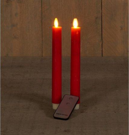 Afbeelding van Anna's Collection 2x Rode Led Kaarsen/dinerkaarsen Op Afstandsbediening 23 Cm - Led Kaarsen Op Batterijen