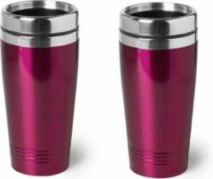 Bellatio Design 2x stuks warmhoudbeker/warm houd beker metallic fuchsia roze 450 ml - RVS Isoleerbeker/thermosbekers reisbekers voor onderweg