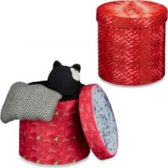 Relaxdays 2x Sitzhocker Sitzwürfel Falthocker Klapphocker Stauraum Drachenfrucht Erdbeere