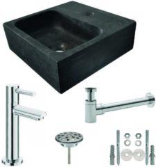 Douche Concurrent Fonteinset Natura Vierkant 30x30x10cm Hardsteen Antraciet Chroom Toiletkraan Sifon Plug Bevestigingsset