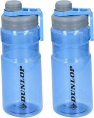 Dunlop Set van 2x Transparant blauwe bidon/drinkfles - 1100 ml - Sportfles/sportbidon - Drinkflessen/waterflessen voor onderweg
