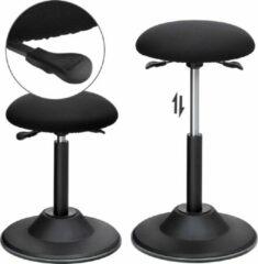 Zwarte SONGMICS In hoogte verstelbare bureaukruk, ergonomische werkkruk, kruk 360 ° draaibaar, zithoogte 50-70 cm, met antislip voetring OSC01BK