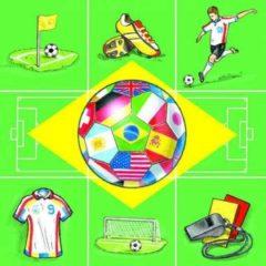 20x Voetbal landen thema servetten 33 x 33 cm - Papieren wegwerp servetjes - Voetbal versieringen/decoraties