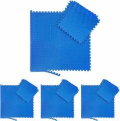 Blauwe Relaxdays 32x fitness mat - beschermmat - sportmat - puzzelmat - vloermat – bescherming