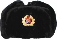 MFH Russische bontmuts, zwart, met embleem, MAAT XS