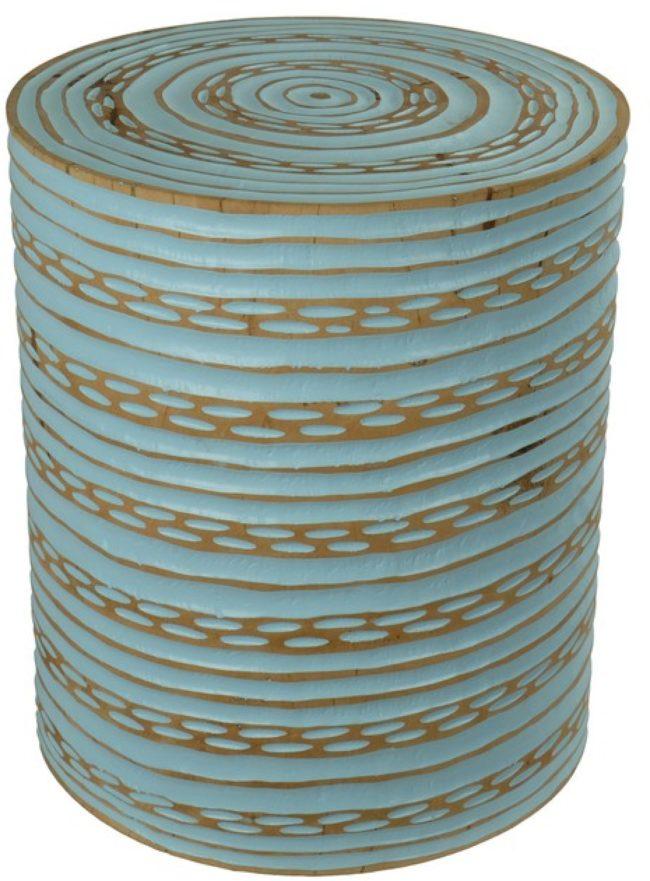 Afbeelding van Fine Asianliving Kruk Rond Mangohout Handgemaakt in Thailand Blauw Chinese Meubels Oosterse Kast