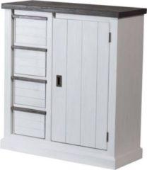 Möbel Ideal Highboard in Akazie massiv Weiß / Braun