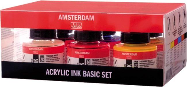 Afbeelding van Amsterdam acryl inkt, set met 6 flacons van 30 ml, in geassorteerde kleuren