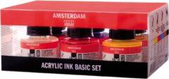 Amsterdam acryl inkt, set met 6 flacons van 30 ml, in geassorteerde kleuren