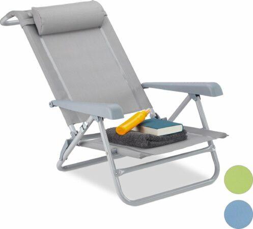Afbeelding van Relaxdays Ligstoel - opvouwbaar - inklapbare tuinstoel - strandstoel - relaxstoel - tuin grijs