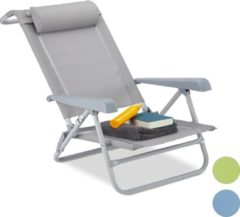Relaxdays Ligstoel - opvouwbaar - inklapbare tuinstoel - strandstoel - relaxstoel - tuin grijs