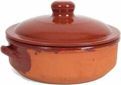 Bruine Merkloos / Sans marque Stenen ovenschaal/braadpan met deksel Salamanca 24 cm - Terracotta ovenschalen/braadpannen - pannetjes voor 1 persoon