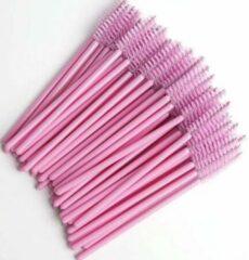 Wimper borsteltjes Weg werp wimper & mascara borsteltjes roze 25pcs / Eyelash brush pink