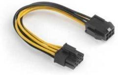 Gele Akasa AK-CB051 6-pin PCIe 8-pin ATX12V kabeladapter/verloopstukje