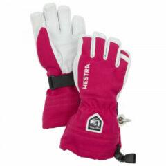 Hestra - Kid's Army Leather Heli Ski 5 Finger - Handschoenen maat 5, roze/grijs