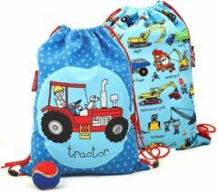 Blauwe Tractor werkvoertuigen sporttas trekkoord tas (activity bag) Tyrrell Katz