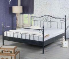 Bed Box Holland - Virginia metalen bed - Zwart/Zilver - 160x220
