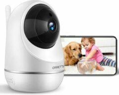 Orretti® X20 HD 3MP Wifi Cloud Bewakingscamera Babyfoon met iOS & Android Smart App - IP Video Beveiligingscamera met Nachtzicht Bewegingsdetectie Cloud Opslag (Wit)