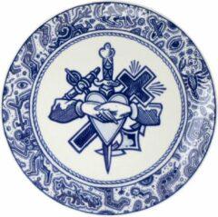 Blauwe Royal Delft Schiffmacher Royal Blue Tattoo Faith, Hope & Love ontbijtbord 24 cm