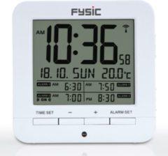 Witte Fysic FKW-8 DCF Wekker met thermometer - Wekker met dag, datum en temperatuur aanduiding - compact