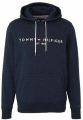 Donkerblauwe Tommy Hilfiger Tommy Logo Hoody Sporttrui - Maat L - Mannen - donker blauw