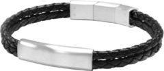 Frank 1967 Audacious Leather 7FB 0286 Leren Gevlochten Armband met Staal Elementen - Lengte 20 + 1 cm - Zilverkleurig / Zwart