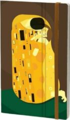 Gele Stifflexible notitieboek Gustav Klimt 13 x 21 cm papier bruin