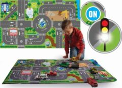 Kids Globe - Speelkleed verkeer - incl LED verkeerslichten - 100x75 cm