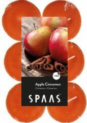 Oranje Candles by Spaas 48x Maxi geurtheelichtjes Apple Cinnamon 10 branduren - Geurkaarsen appel/kaneel geur - Grote waxinelichtjes