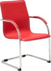CLP Freischwinger MELINA V2 mit Kunstlederbezug I Pflegeleichter Konferenzstuhl mit Armlehne I Bürostuhl mit Metallgestell in Chrom-Optik und Bodensch