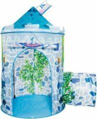 Blauwe Speeltent Unicorn Kasteel - Imaginarium - Pop Up Tent voor Kinderen - Met Tunnel