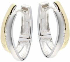 Elegance Zilveren Oorbellen klapcreolen met zirkonia goudkleurig 107.5154.00