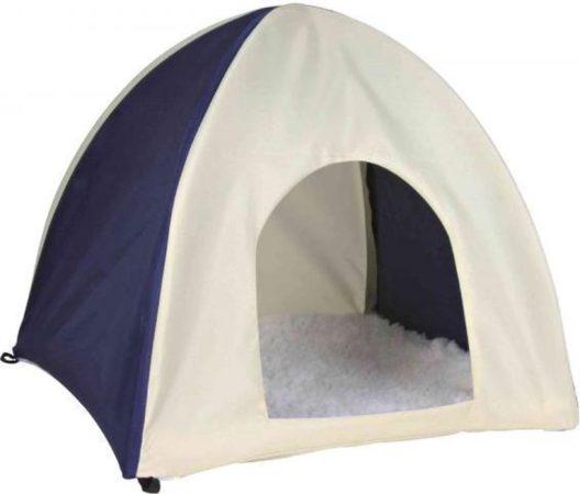 Afbeelding van Trixie knaagdierhuis wigwam nylon donkerblauw / beige 37x37x35 cm