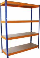 MonsterShop Monster Racking S-Rax Warehouse Storage Shelving, Blue/Orange, 150cm W, 50cm D