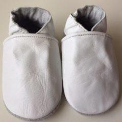 Drukkies Leren baby slofjes – wit maat s