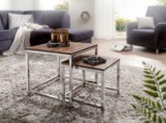 Wohnling WOHNLING 2er Set Satztisch Massiv-Holz Sheesham Wohnzimmer-Tisch Metallgestell Landhausstil Beistelltisch braun natur