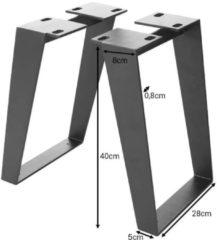 DELIFE Tafelpoten boombank Live-Edge 6,0x0,8 cm metalen onder een zwarte hoek (set van 2).
