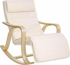 Grijze ''merkloos'' Relaxstoel - Ligstoel - Comfort - Basic - Houten Frame - Beige - 67x125x91