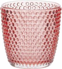 Cosy and Trendy Theelichthouders/waxinelichthouders Glas Bubbels Rood 9 X 9 Cm - Windlichtjes/kaarsenhouders