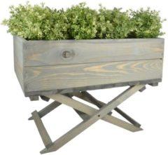 Grijze Esschert Design Plantenbak met opvouwbare voet - 58 x 38 x 45,5 cm