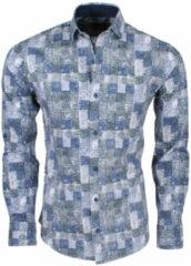 New Republic Dinero milano heren overhemd slim fit geblokt grijs/blauw