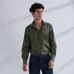 Kaki Heren Overhemd Khaki MT 46 - Baurotti Lange Mouw Regular fit