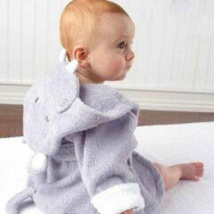 Grijze Baby badjas - Komfor - Nijlpaard - Inclusief gratis baby borstel & kam